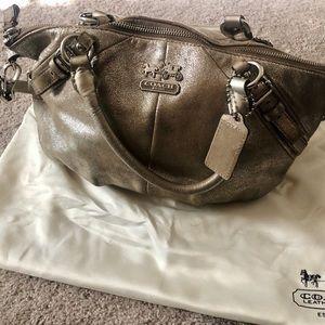 Coach suede, pewter medium-size bucket purse